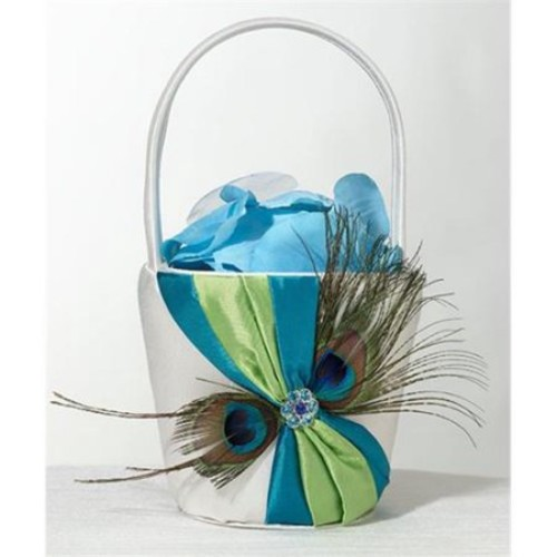 Peacock Flower Girl Basket