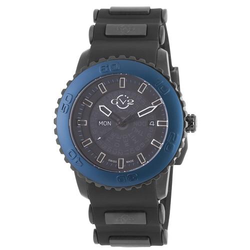 GV2 Aurora Mens Analog Display Quartz Black Watch with Blue Bezel