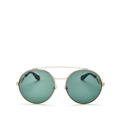 GIVENCHY Double Brow Bar Oversized Round Polarized Sunglasses, 60Mm