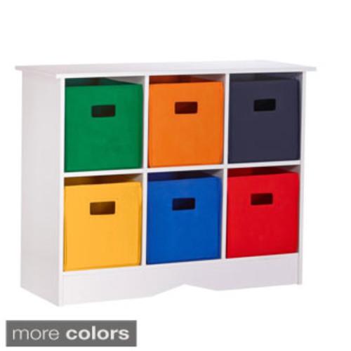 Simple Living 'Jolie' White Bookcase with Six Fabric Bins [Finish : Black Finish/Blue Finish/Grey Finish]