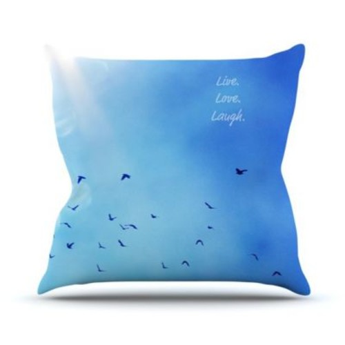 KESS InHouse Live Laugh Love Throw Pillow; 16'' H x 16'' W