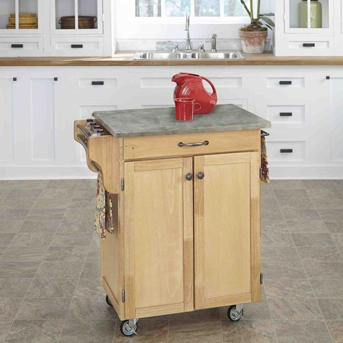 Home Styles Cuisine Cart Natural Kitchen Cart With Concrete Top
