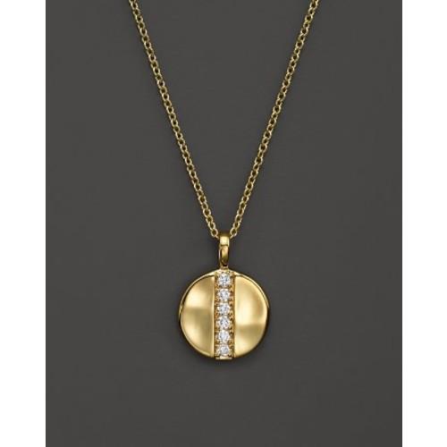18K Glamazon Stardust Mini Disc Pendant Necklace with Diamonds, 16