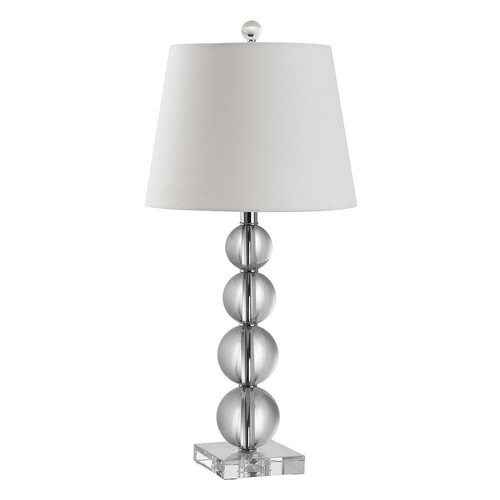 Safavieh Millie Crystal Ball Table Lamp with CFL Bulb, Clear with Off-White Shade