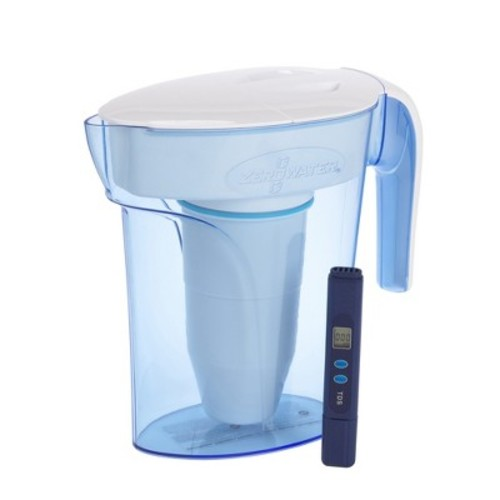 ZeroWater 6 Cup Ready Pour Pitcher with Free TDS Meter (Total Dissolved Solids)