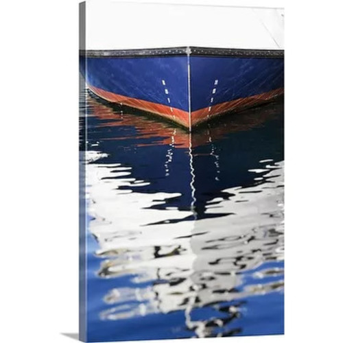 Premium Thick-Wrap Canvas entitled Reflection of boat in water