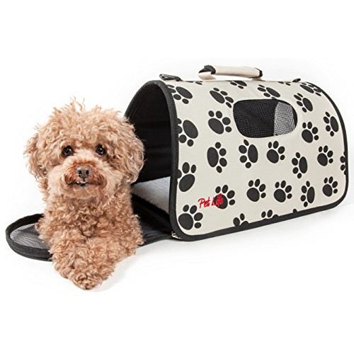 Airline Approved Folding Zippered Sporty Cage Pet Carrier [Paw Print, Large]