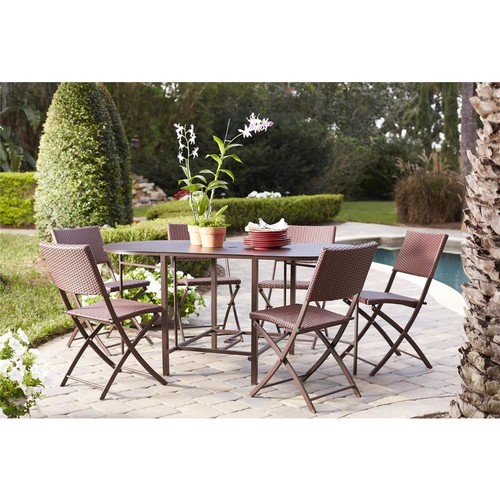 Cosco Delray Transitional 7- Piece Steel Brown & Red Woven Wicker Compact Folding Patio Dining Set