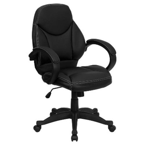 Contemporary Executive Swivel Office Chair Black Leather - Flash Furniture