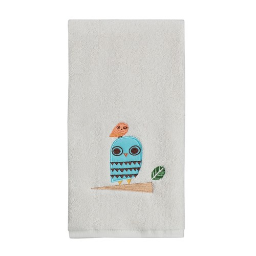 Give a Hoot Whimsical Owls Embroidered Bathroom Hand Towel