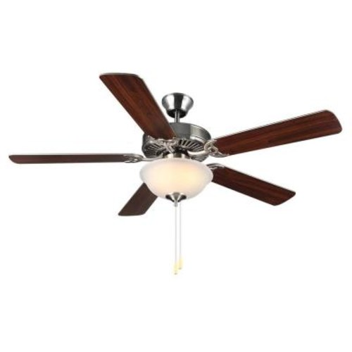 Monte Carlo HomeBuilder II 52 in. Brushed Steel Ceiling Fan with Silver American Walnut Blades