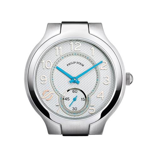 Philip Stein Stainless Steel Small Round Watch Head, White/Sky Blue
