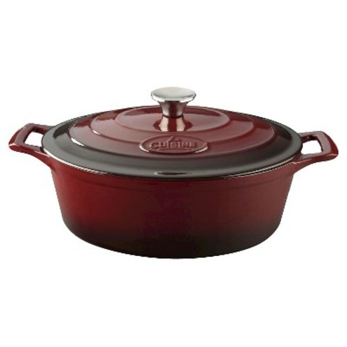 La Cuisine 6.75 Qt. Cast Iron Oval Casserole with Ruby Enamel