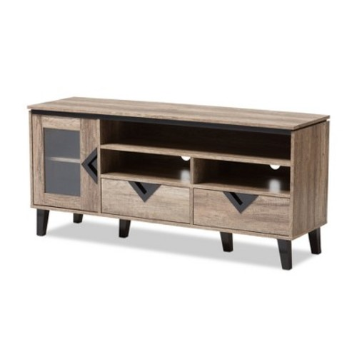 Cardiff Modern and Contemporary Wood 55 - Inch TV Stand - Light Brown - Baxton Studio
