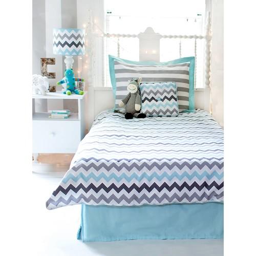 My Baby Sam Chevron In Aqua Full Bedding