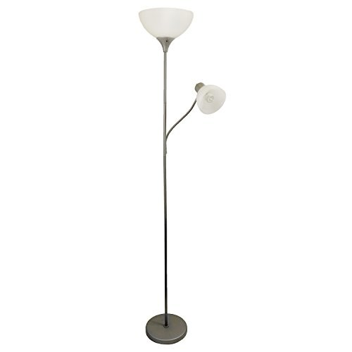 All The Rages Simple Designs Floor Lamp with Reading Light Silver per EA