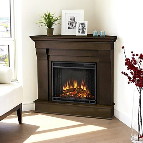 Real Flame Chateau Corner Electric Fireplace in Walnut