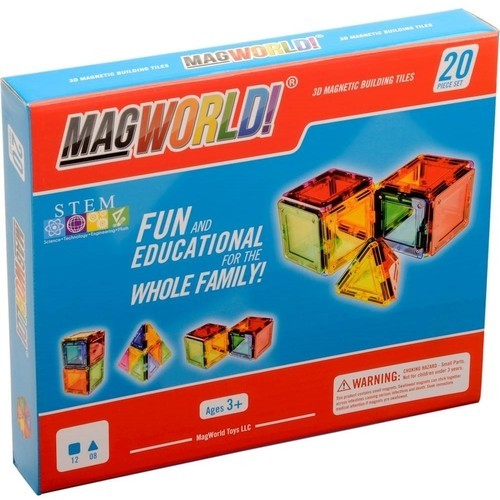 MagWorld - Rainbow Magnetic Building Tiles Set - Multi Colored