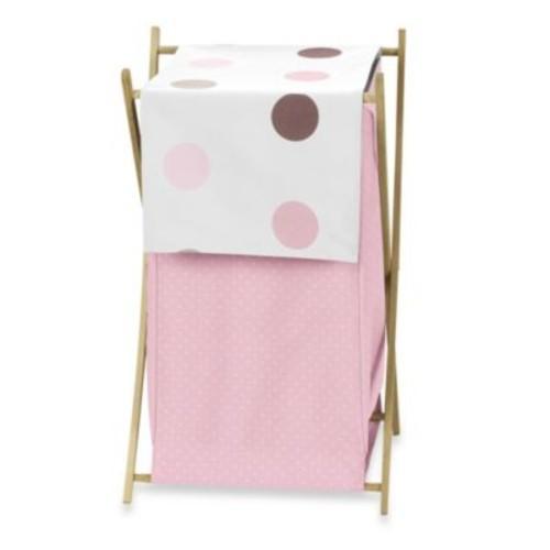 Sweet Jojo Designs Mod Dots Laundry Hamper in Pink/Chocolate