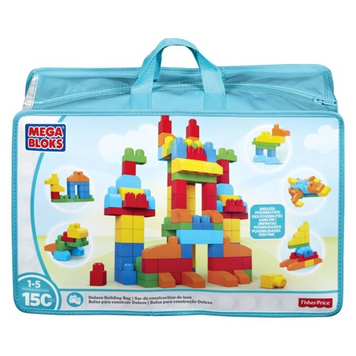Mega Bloks Deluxe Building Blocks Bag - Skill Learning: Building, Exploration, Shape, Color, Creativity - 145 Pieces