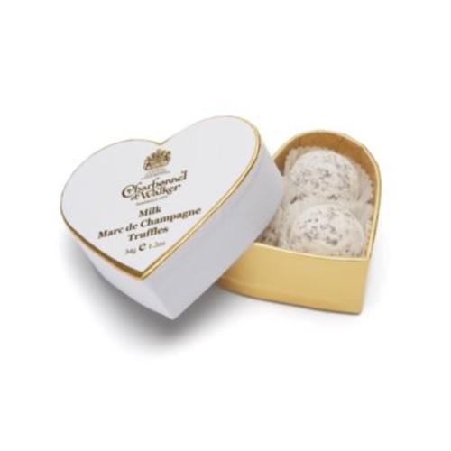 Mini White Heart Dusted Truffles