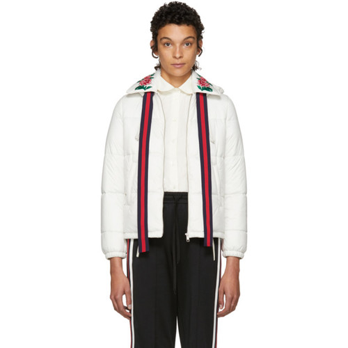 GUCCI White Quilted Embroidered Jacket