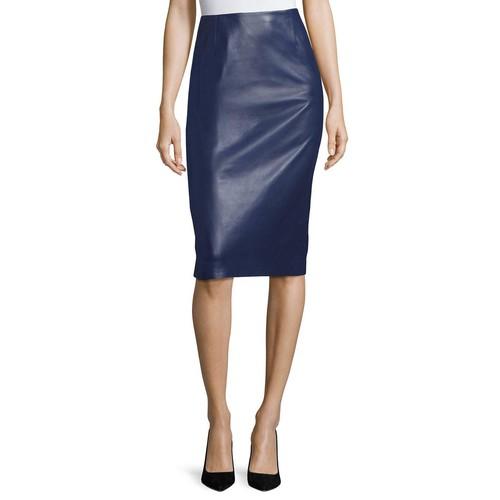 CAROLINA HERRERA Leather Pencil Skirt, Navy