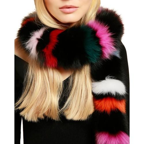 Rainbow Twist Fox Fur Scarf