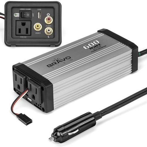 Bravo 600-Watt Power Inverter with Dual USB Charging