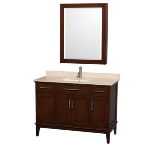 Wyndham Collection Hatton 48 inch Single Bathroom Vanity in Dark Chestnut, Ivory Marble Countertop, Undermount Square Sink, and Medicine Cabinet