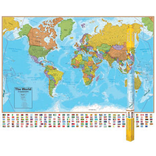 Round World Products Hemispheres Laminated Map World