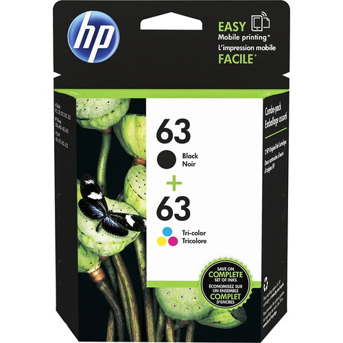 HP 63 Black & Tri-color Original Ink Cartridges, 2 Pack (L0R46AN)