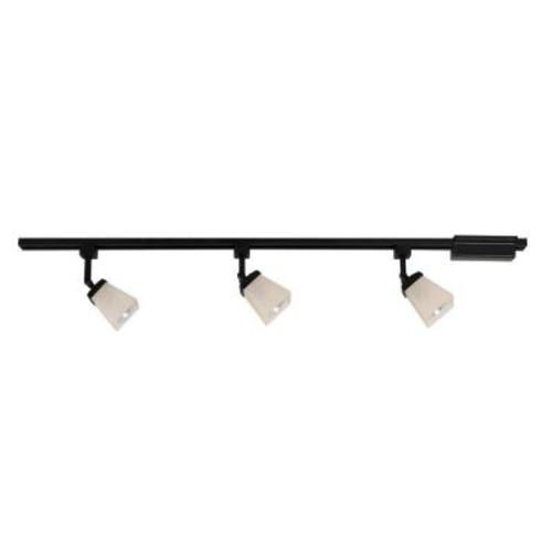 Commercial Electric 3-Light Matte Black Linen Glass Linear Track Lighting Kit