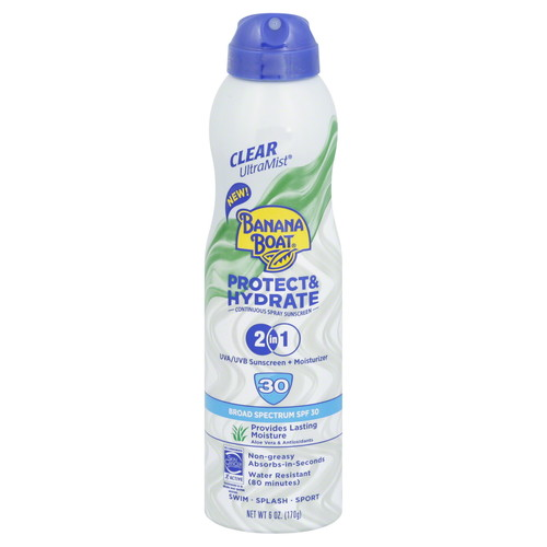 Banana Boat Sunscreen, Continuous Spray, Broad Spectrum SPF 30, 2 in 1, 6 oz (170 g)