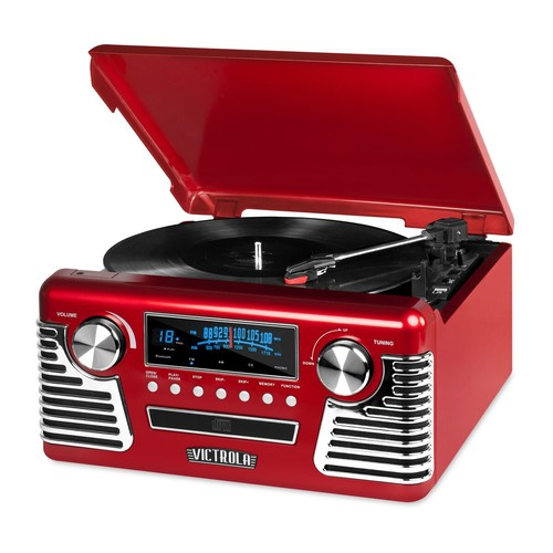 Victrola '50s Retro Record Player with Bluetooth and CD Player - Red