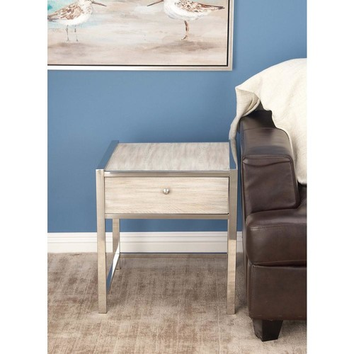 Modern Contemporary Wood and Stainless Steel Side Table In Whitewash Finish