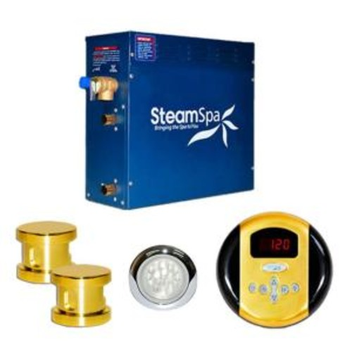 SteamSpa Indulgence 10.5kW Steam Bath Generator Package in Polished Brass