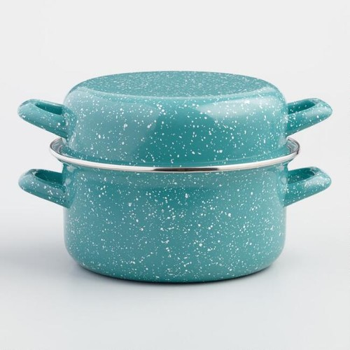 Turquoise Enamel Mussel Pot