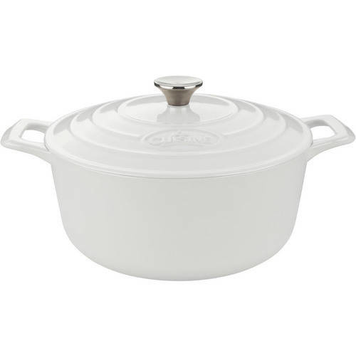 La Cuisine - Pro Cast-Iron Round Covered Casserole - White