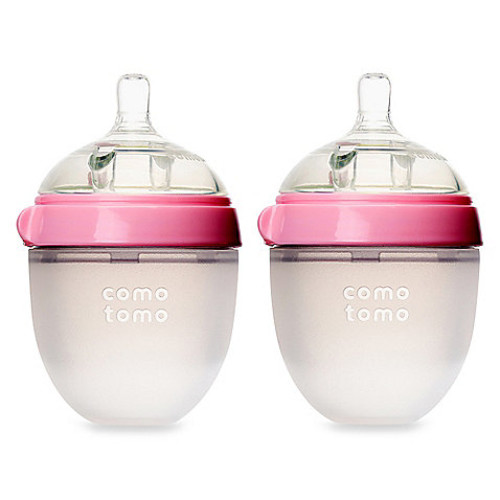 Comotomo 5-Ounce Baby Bottles in Pink (2-Pack)