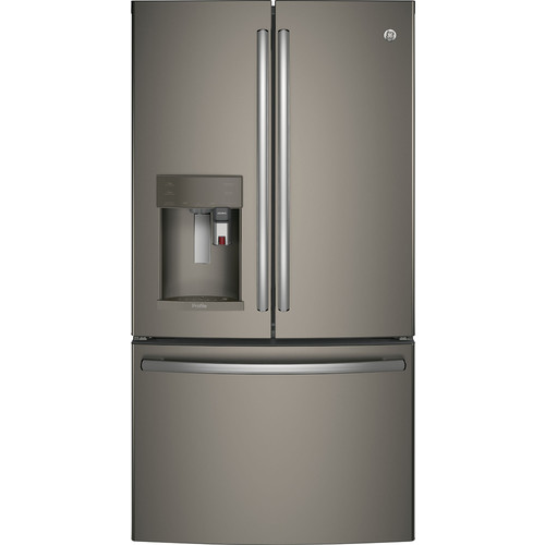 GE - Profile Series 22.2 Cu. Ft. French Door Counter-Depth Refrigerator with Keurig Brewing System - Slate