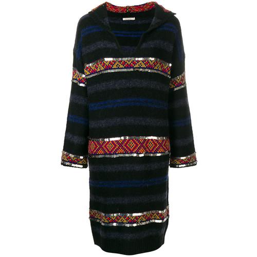 embellished stripe jumper dress