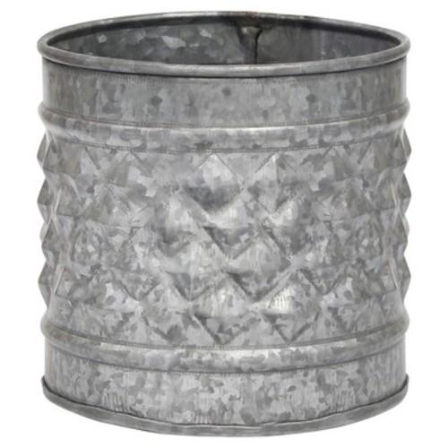 Stonebriar Collection 5 in. Antique Galvanized Metal Textured Planter or Decorative Vase