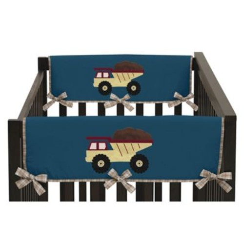 Sweet Jojo Designs Construction Zone Side Crib Rail Covers in Teal/Yellow (Set of 2)