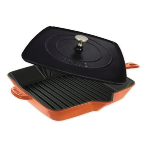 Staub 12-Inch Cast Iron Enameled Square Grill Pan and Press Set in Burnt Orange