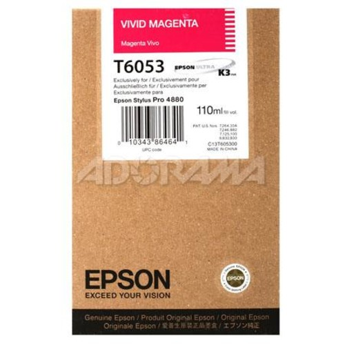 Epson T605300 UltraChrome 110ml Ink, for Stylus Pro 4800, Vivid Magenta T605300