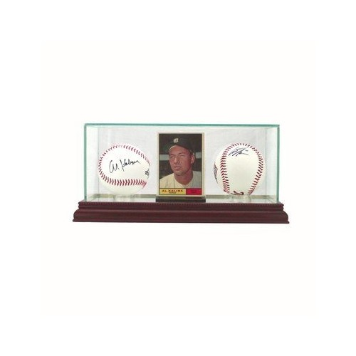 Glass Baseball Card & Double Baseball Display Case with Cherry Wood Molding