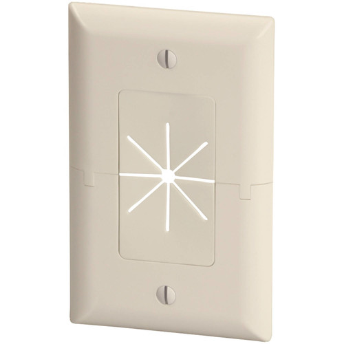 Datacomm Electronics 45-0017-LA Split Plate with Flexible Opening, Light Almond