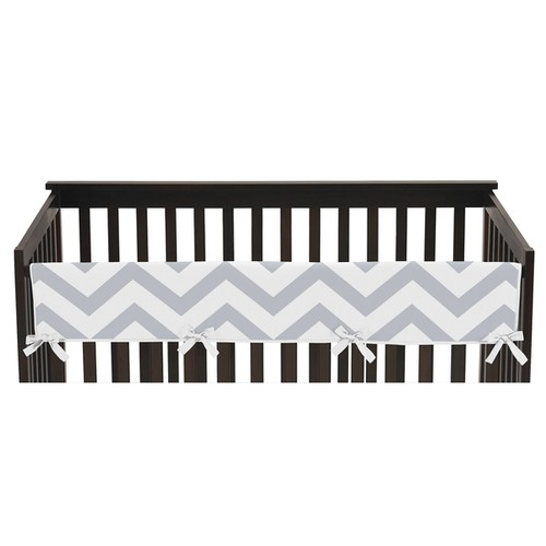 Sweet Jojo Designs Grey and White Chevron Collection Long Crib Rail Guard Cover