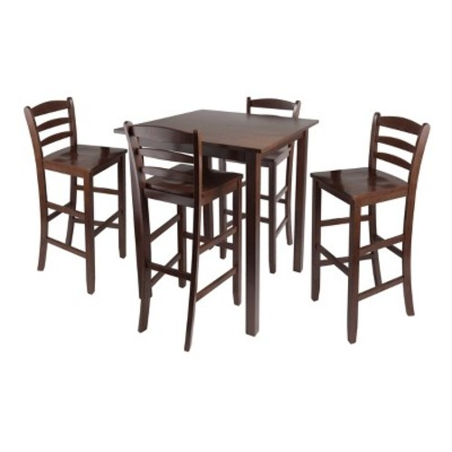 5 Piece Parkland Set High Table with Ladder Back Bar Stools Wood/Walnut- Winsome